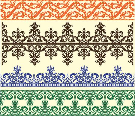 fronteiras: Filigree medieval stensil patterns set illustration. Ilustra��o