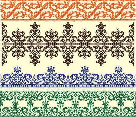green leaves border: Filigree medieval stensil patterns set illustration. Illustration