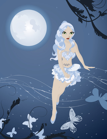 Lunar fairy in night sky with butterflies vector illustration Vector