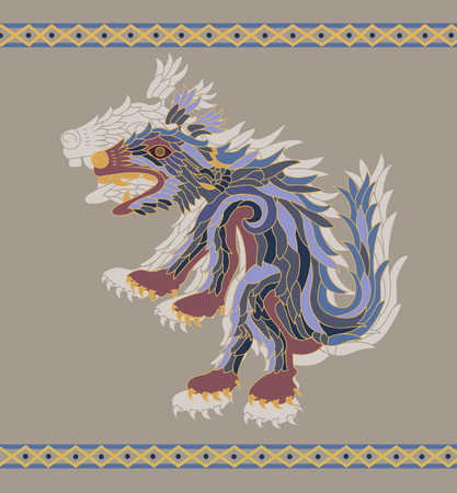 coyote: Traditional aztec coyote  illustration for design