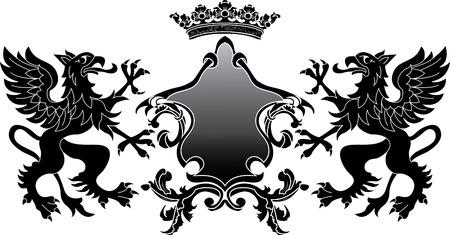 Heraldic Griffin banner Vector