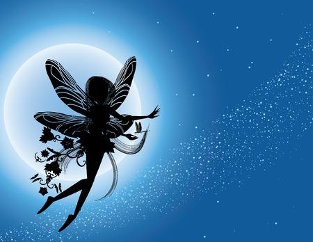 hadas caricatura: Silueta de hadas volando en el cielo de la noche  Vectores