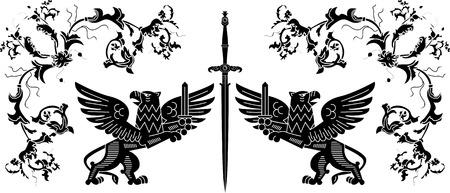 Sword, Griffins and floral elements stencil composition Vector