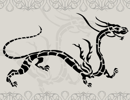 Black tattoo china dragon for design Stock Vector - 7612395