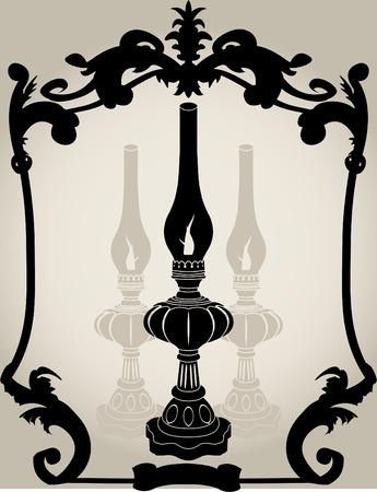 oil lamp: Oil lamp stencil illustration for design