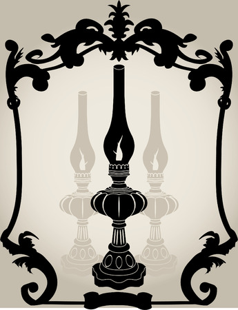 lamp outline: Oil lamp stencil illustration for design