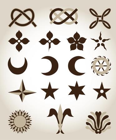 Conjunto de emblemas de arquitectura tradicionales