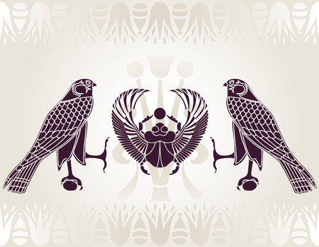 Egyptian Horus and Scarab stencil