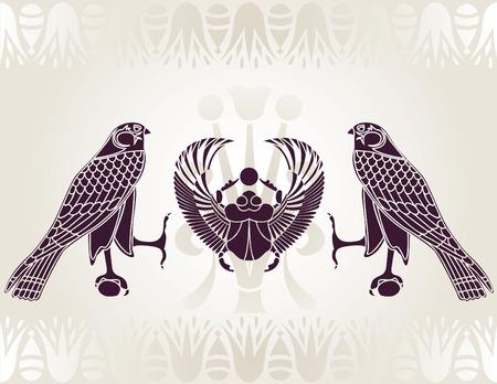 Horus egipski i Scarab wzornik