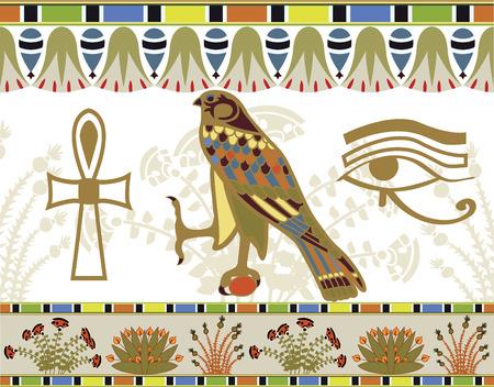 papiro: Illustrazione di modelli, frontiere e simboli egiziano per la progettazione