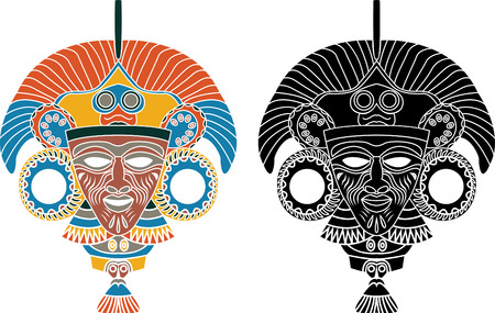 past civilizations: Aztec mask stencil in two variants