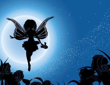 Flying fairy silhouette with flowers in night sky illustration Vector