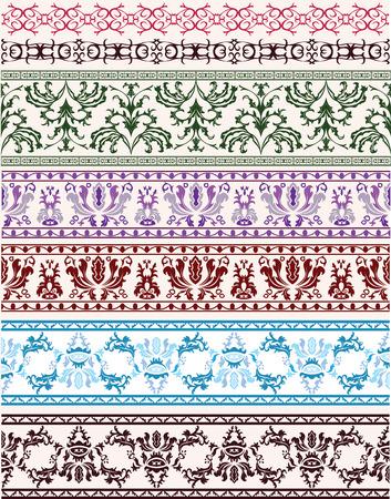 scroll up: Traditional floral ornament set for design Illustration