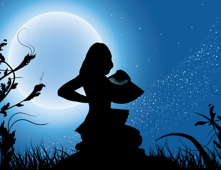 Silhouette of the girl with a fan in a full moon Vector