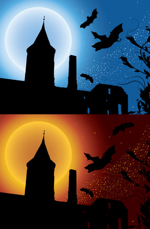 Bats in the ruins, two variants Vector