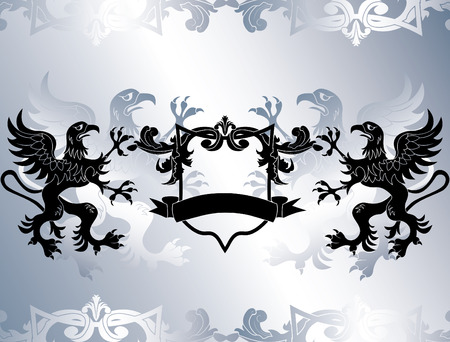 Rampant griffins and shield stencil Vector