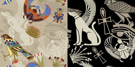 hieroglieven: Egyptische naadloze in twee varianten