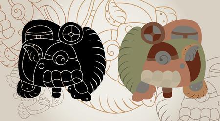 cliche: Signos de un calendario de los mayas, un contorno, un clich� y una variante de color