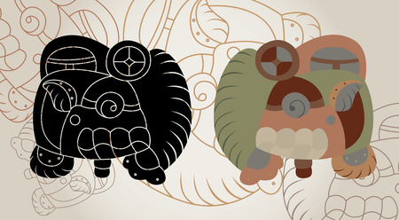 cliche: Signs from a calendar of the Maya, a contour, a cliche and a color variant Illustration