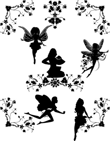 hadas caricatura: Conjunto de hadas y esquinas florales