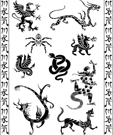 Set of fantasy animals Stock Vector - 8165867