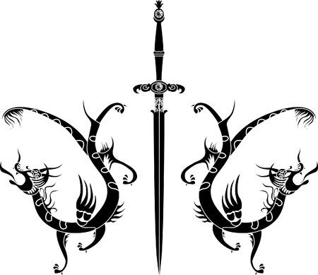 tatouage dragon: Gabarit �p�e et dragons