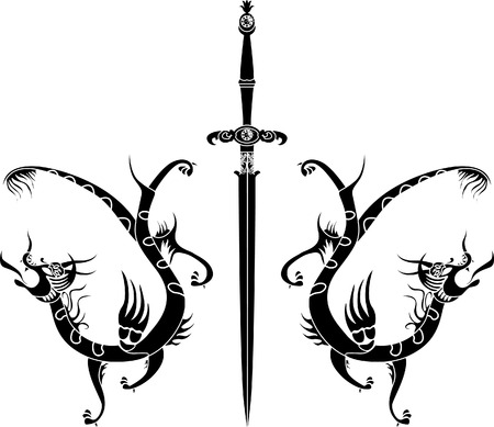 medieval sword: Sword and dragons stencil