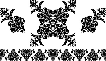Set of decorative elements, border and flower patterns Vector