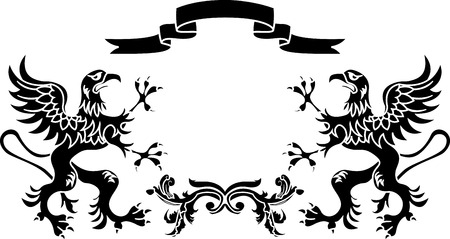 Decorative element, stencil framework: griffins with a ribbon and a branch Vector