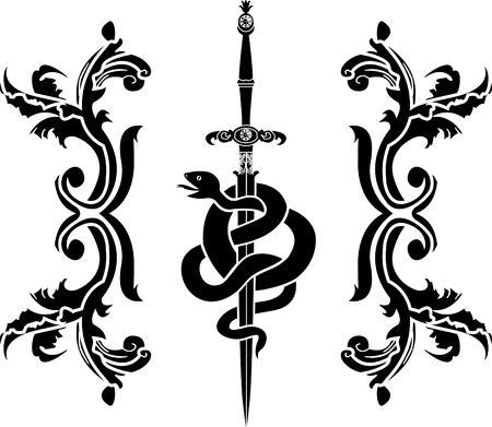 Snake sword stencil Illustration