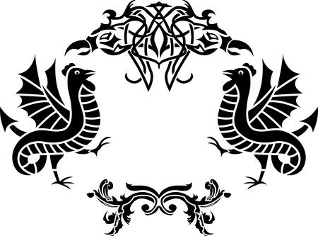 cliche: Fantasy  framework second variant, with basilisks, cliche, stencil