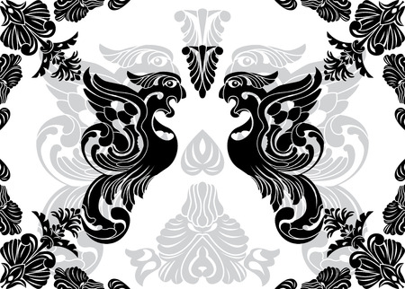 Phoenix stencil and decorative framework Stock Vector - 8257856