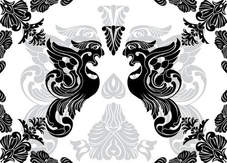 Phoenix stencil and decorative framework Stock Vector - 8257856