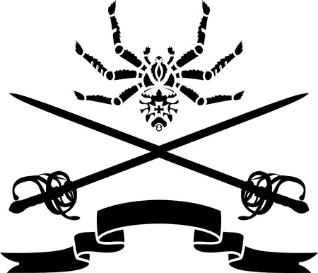Spider, a sword and a ribbon stencil composition Stock Vector - 8329766
