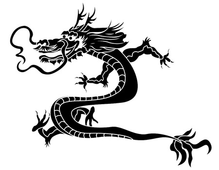 Traditional asian dragon stencil Vector