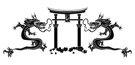 Torii and asian dragons stencil Illustration