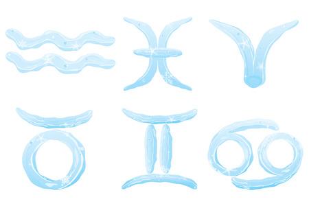 Set of ice zodiac signs  Aquarius, Pisces,  Aries, Taurus, Gemini, Cancer Vector