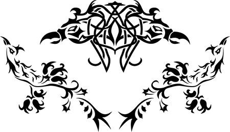 Fantasy birds stencil Vector