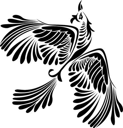 tatouage oiseau: Fantaisie oiseaux gabarit illustration pour la conception