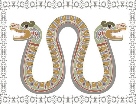 Traditionele Azteekse slang met twee hoofden illustratie Stock Illustratie