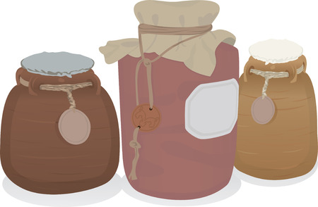 Clay pots set  illustration for web Vector