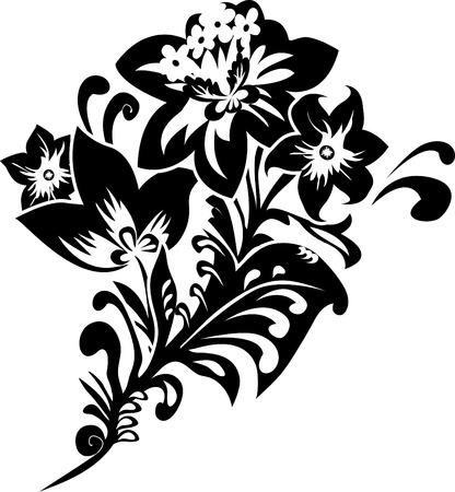 Black fantasy flower stencil illustration for design Stock Vector - 8463211