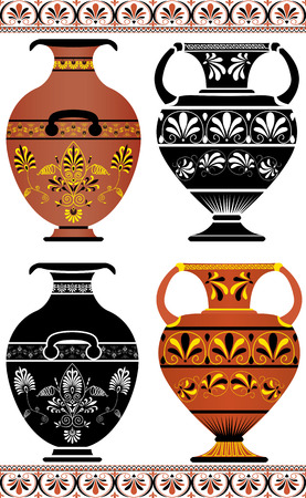 Set of Greek vases, colored image and cliche Vector