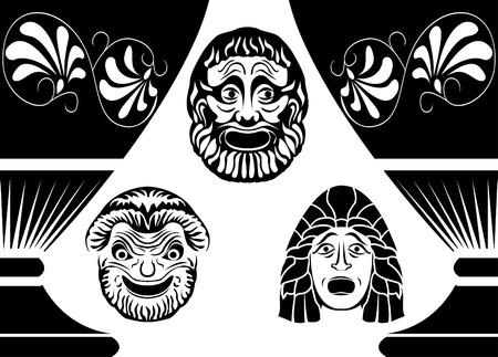 Clásicas máscaras teatrales griegas antiguas, conjunto de tres máscaras