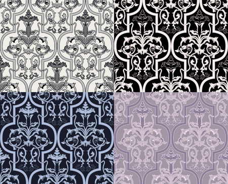 Damask seamless wallpaper in four variants Stock Vector - 8499274
