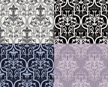 Damask seamless wallpaper in four variants Stock Vector - 8499274