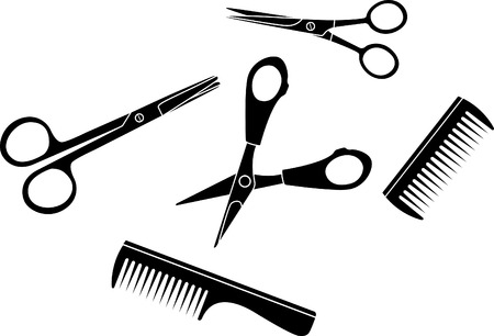 scissors cutting: Hairdresser set scissors and hairbrushes Illustration