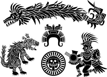 Azteekse stecil set Stock Illustratie