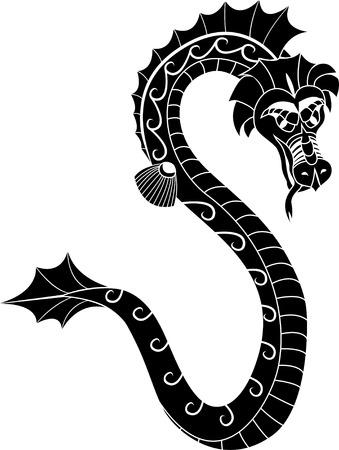 Asian sea dragon stencil Stock Vector - 8603110