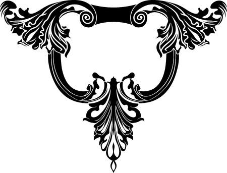 baroque border: Classical decorative framework stencil
